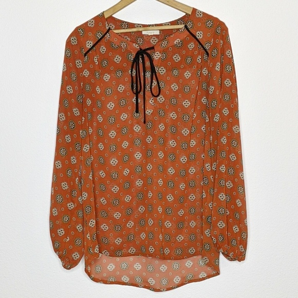 Pleione Tops - Pleione Sheer Rust Peasant Blouse Size Small Loose